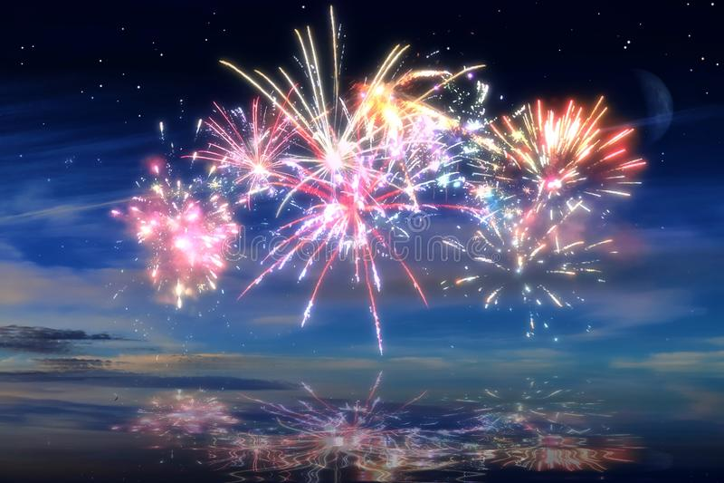 Kolorowi rozjarzeni świętowanie fajerwerki na nocnym niebie fotografia royalty free