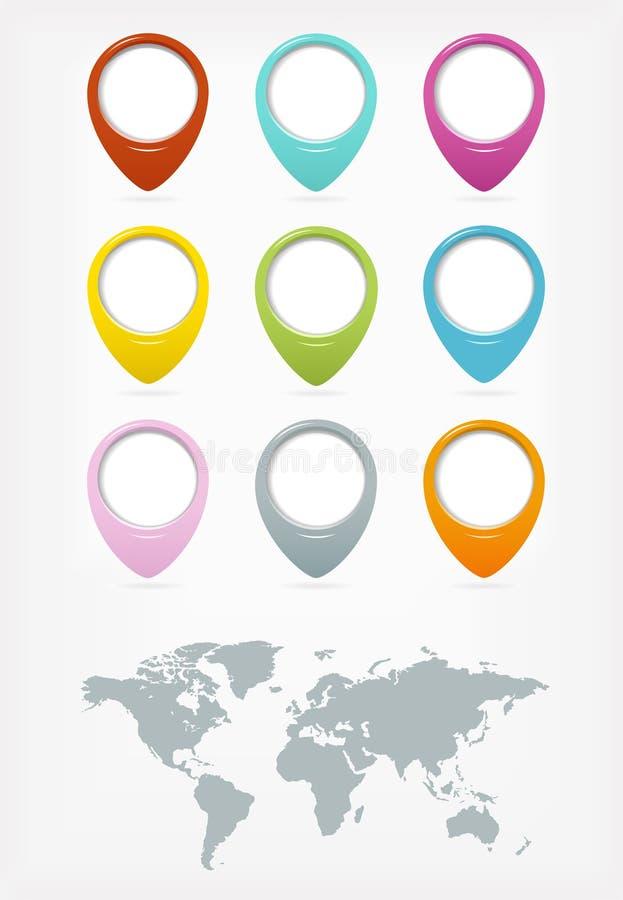 Kolorowi sieci guziki ustawiający z światową mapą ilustracji
