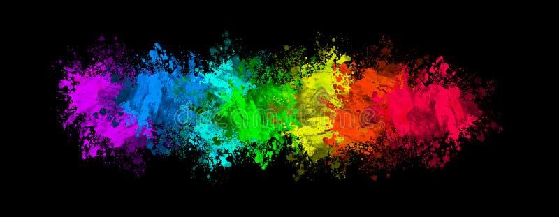 Kolorowi splats na czerni ilustracja wektor