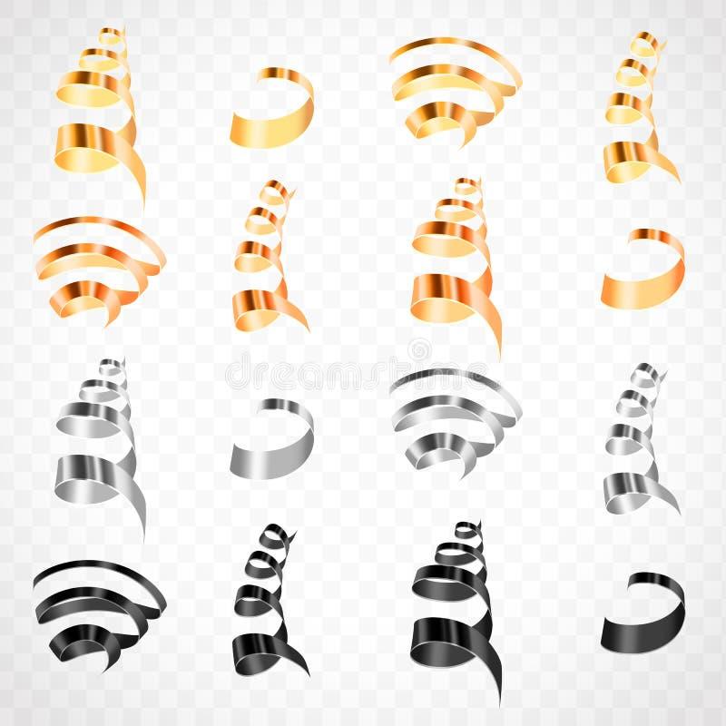 Kolorowi streamers ustawiający ilustracja wektor