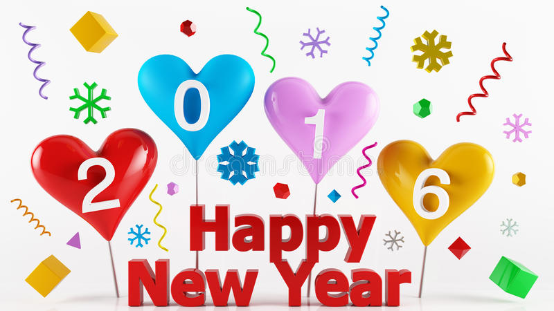 Kolorowi 2016 Szczęśliwych nowy rok obraz stock