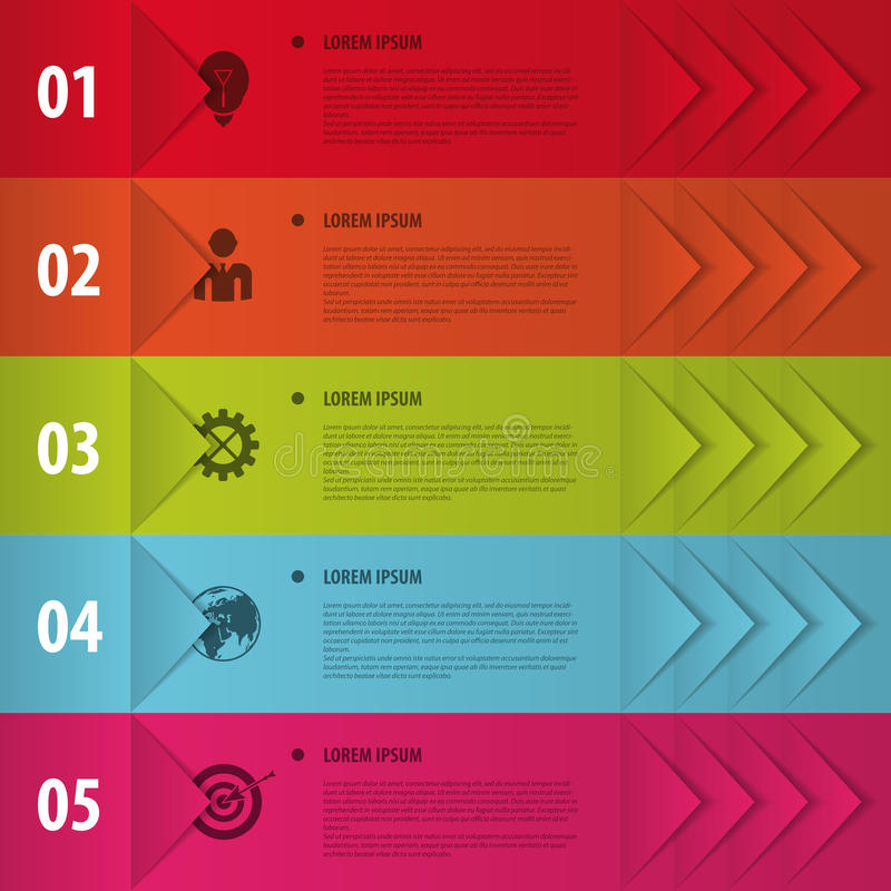 Kolorowi sztandary Infographics dla twój biznesowych prezentacj royalty ilustracja
