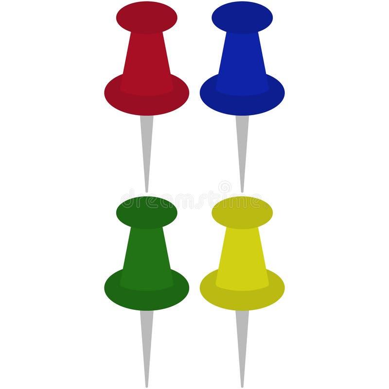 Kolorowi Thumbtacks Ilustracyjni ilustracja wektor