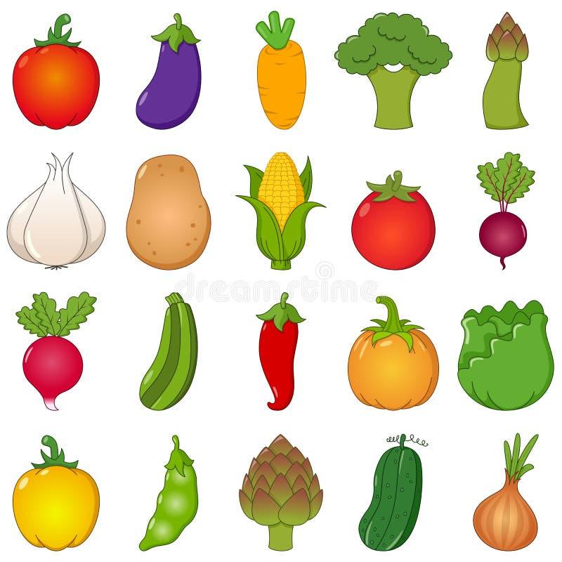 Kolorowi warzywa Ustawiający kreskówka styl ilustracja wektor
