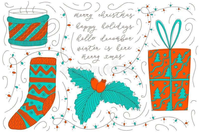 Kolorowi wektorowi boże narodzenia doodles z kawowym kubkiem, herbaciana filiżanka jest ubranym pulower, Santa skarpeta, cranberr ilustracja wektor