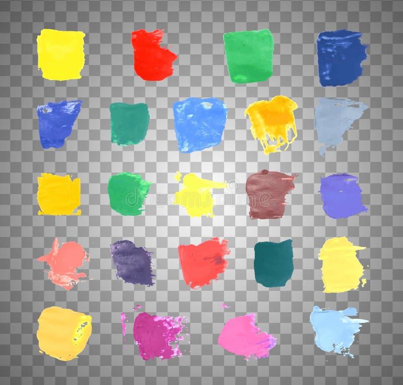 Kolorowi Wektorowi pluśnięcia - kleks, plamy Ustawiać ustalony pluśnięcie kolor na przejrzystym tle royalty ilustracja