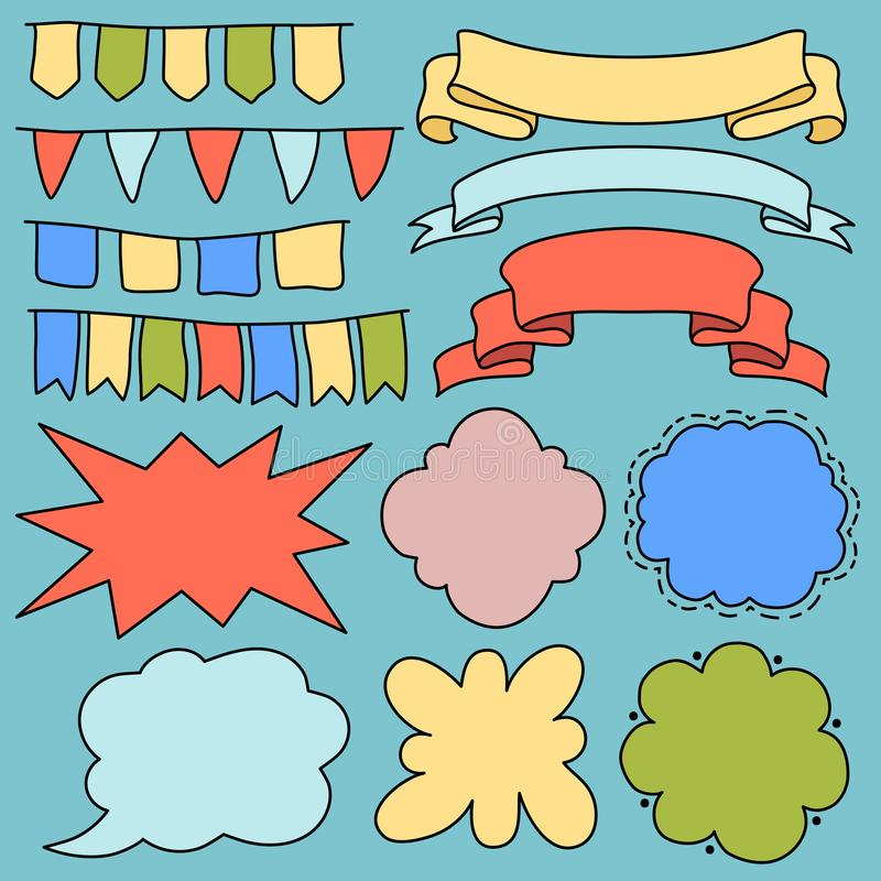 Kolorowi wektorowi sztandary faborki i flagi, pusty kreskówka tekst gulgoczą clipart Zarysowany tasiemkowy sztandar odizolowywają ilustracja wektor