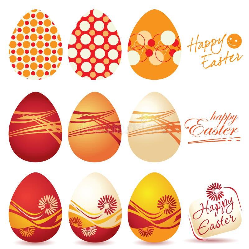 Kolorowi Wielkanocni jajka i Szczęśliwa logo Wielkanoc ilustracja wektor