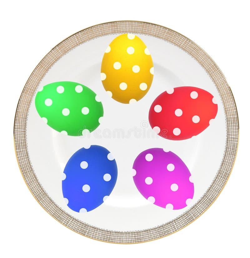 Kolorowi Wielkanocni jajka na talerzu odizolowywającym na bielu zdjęcia stock