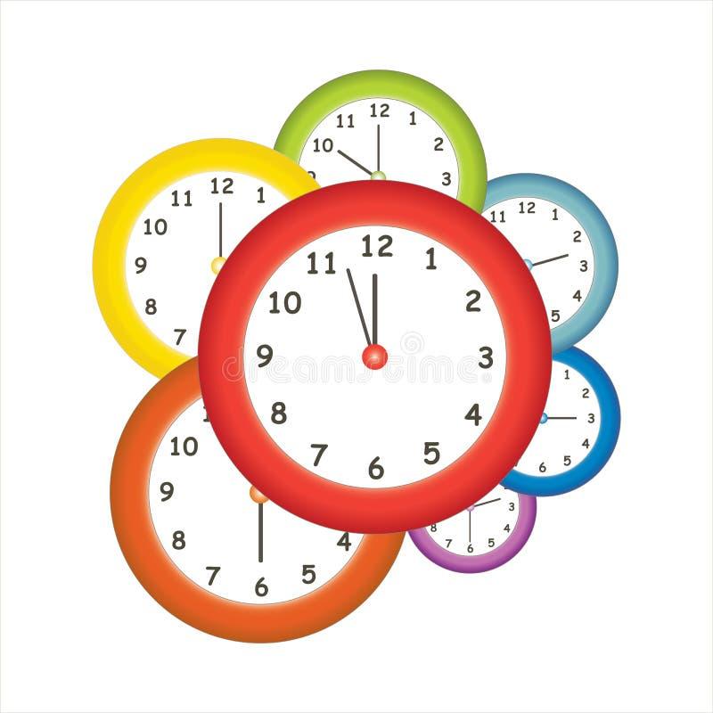 Kolorowi zegary ilustracja wektor