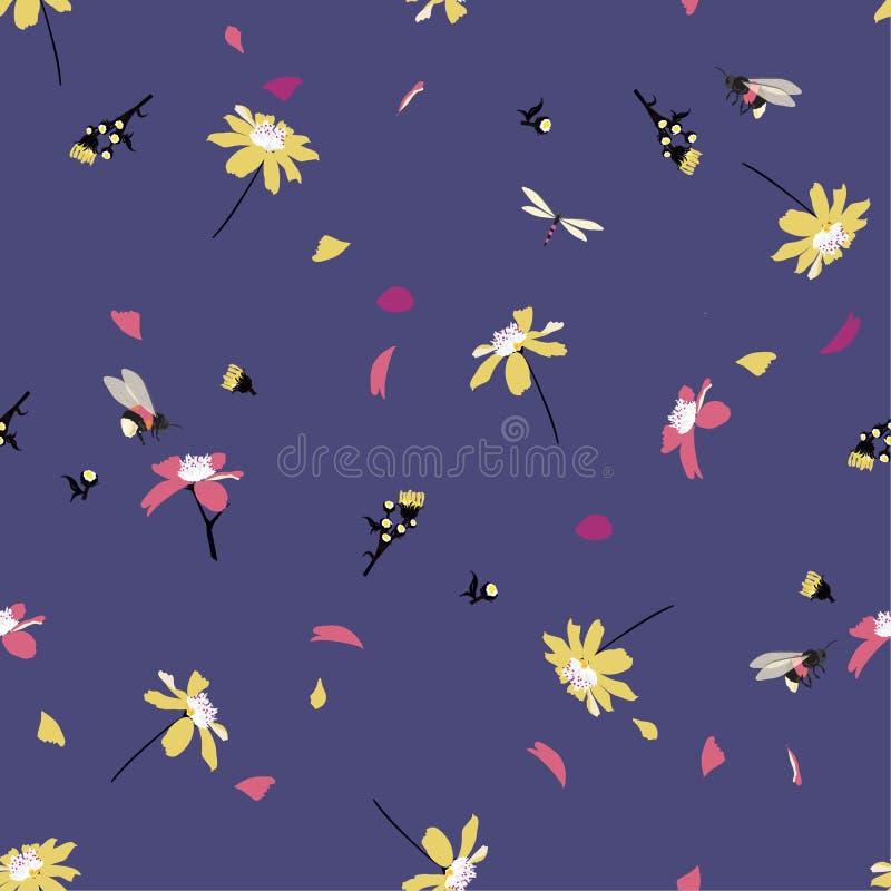 Kolorowy ładny stokrotka kwiecistego druku dmuchanie w wiatrowym projekcie z mamrocze pszczoła bezszwowego wzór w wektorze dla mo ilustracji