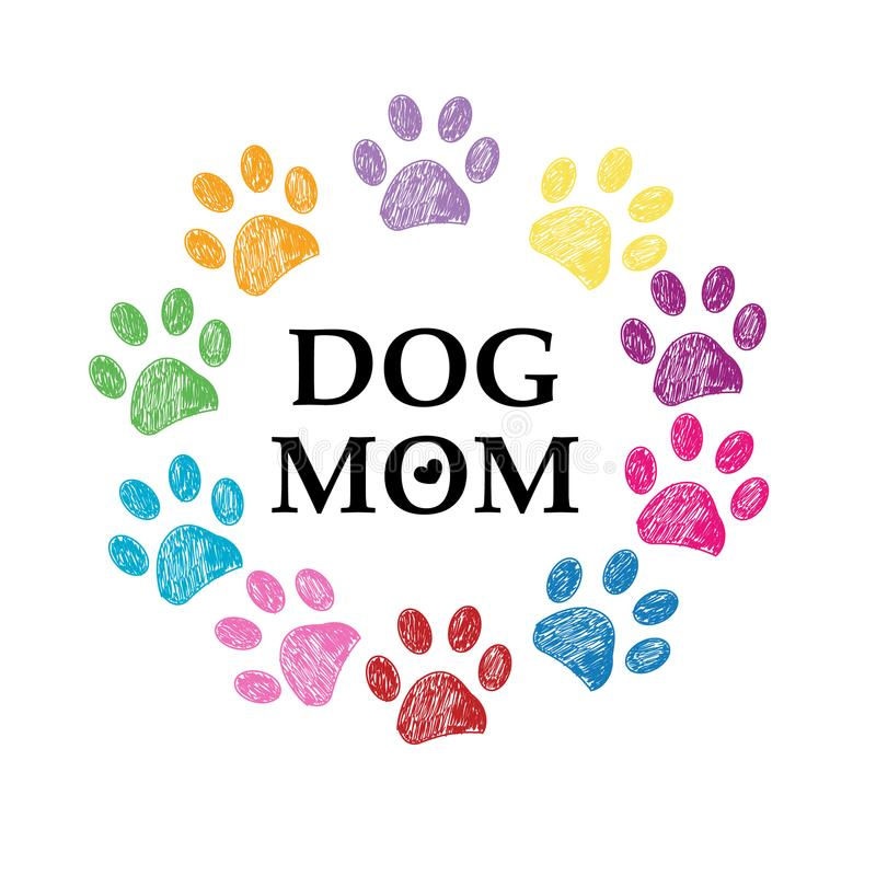Kolorowy łapa druk, serce i Psi mama tekst szczęśliwa dzień matka s royalty ilustracja