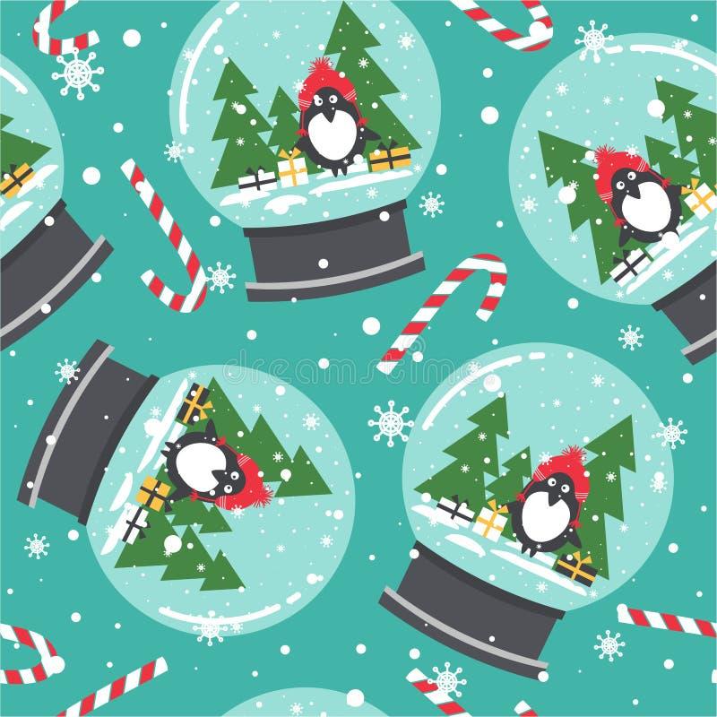 Kolorowy śliczny tło z śnieżnymi kulami ziemskimi, pingwiny, prezenty, jedlinowi drzewa, cukierek trzciny dekoracyjnego ilustraci ilustracji
