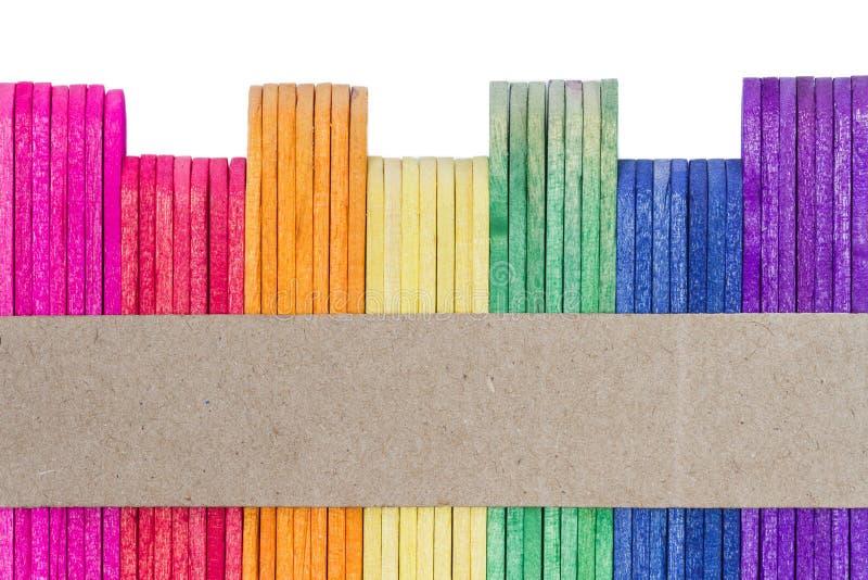 kolorowy śmietanki lodu kija drewno zdjęcia stock