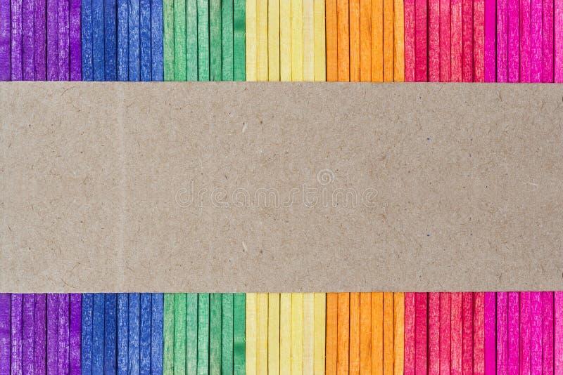 kolorowy śmietanki lodu kija drewno obrazy stock