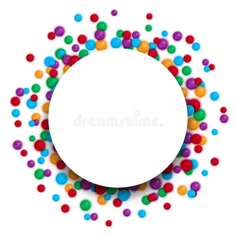 Kolorowy świętowania tło z plastikowymi piłkami royalty ilustracja