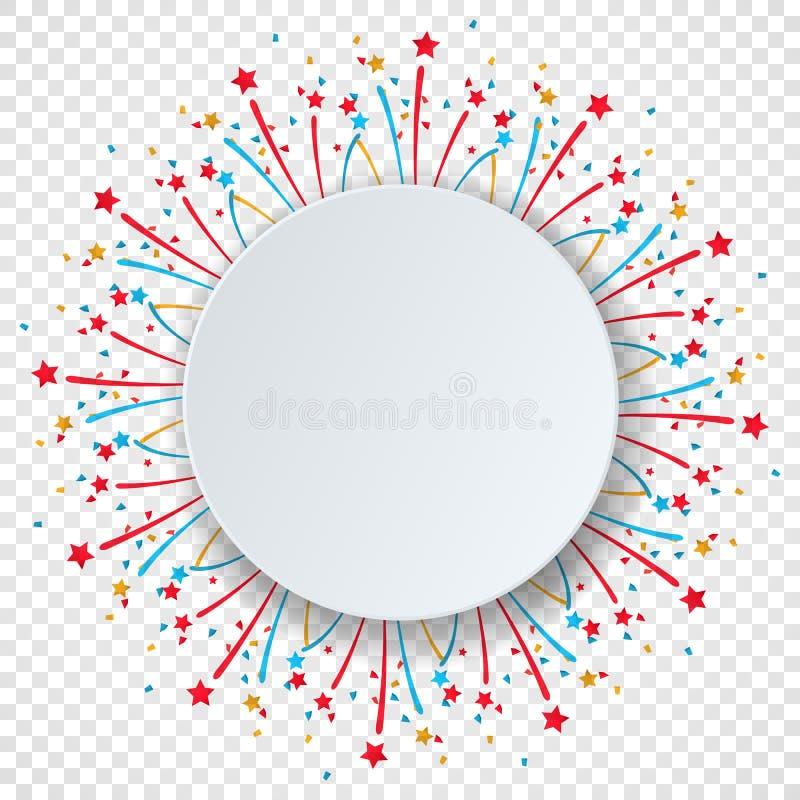 Kolorowy świętowania tło z różna partia fajerwerkami i confetti Okrąg mowy bąbla papierowa przestrzeń dla jakaś teksta ilustracji