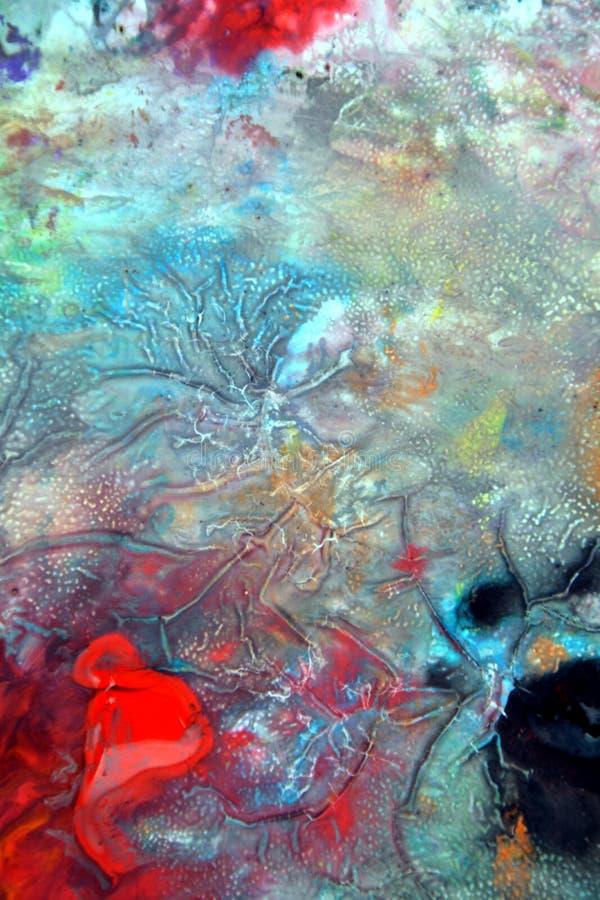 Kolorowy żywy błękitnej czerwieni dymiący tło, malujący akwareli tło, maluje abstrakcjonistycznych kolory obraz royalty free