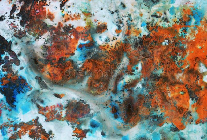 Kolorowy żywy błękitny pomarańczowy tło, malujący akwareli tło, maluje abstrakcjonistycznych kolory fotografia royalty free