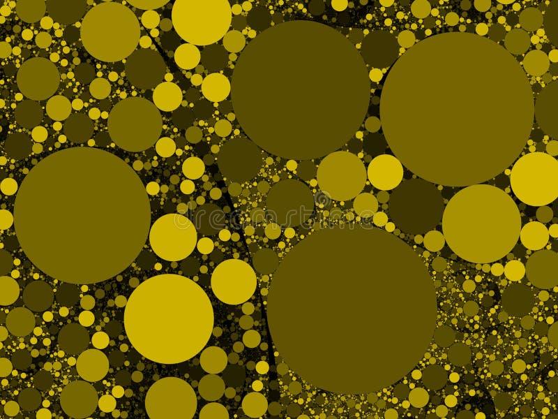 Kolorowy abstrakcjonistyczny żółty złoto okrąża tło ilustrację obraz royalty free
