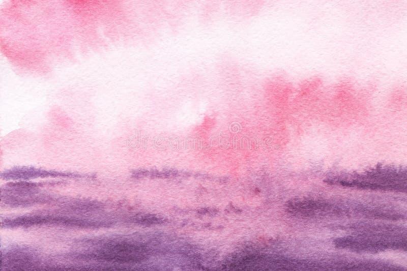 Kolorowy abstrakcjonistyczny akwarela krajobrazu tło Menchie, bez, fiołkowy zmierzch, wschód słońca niebo, lily burzowy morze ilustracja wektor