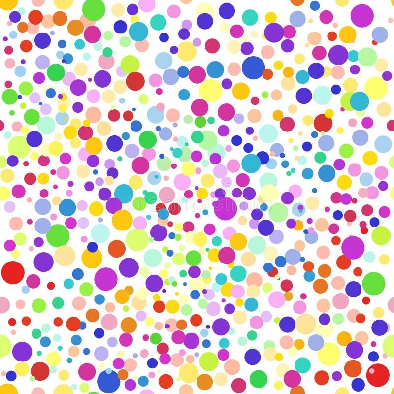 Kolorowy abstrakcjonistyczny bezszwowy tło, wzór Kolorowe kropki, okręgi, confetti ilustracji