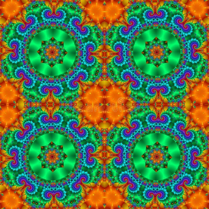 Kolorowy abstrakcjonistyczny bezszwowy wzór z kwiecistym okręgu ornamentem royalty ilustracja