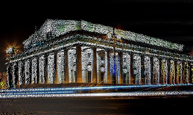 Kolorowy abstrakcjonistyczny budynek architektury 3d rendering extrude sześcian ilustracja zdjęcia royalty free