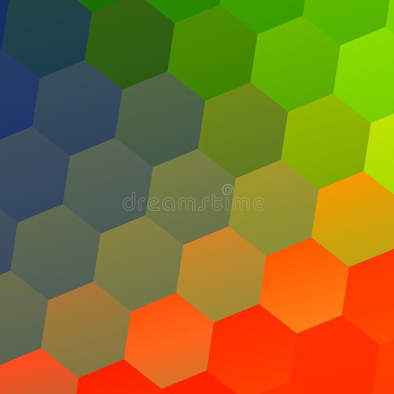 Kolorowy Abstrakcjonistyczny Geometryczny tło z Heksagonalnymi kształtami Mozaiki płytki wzór Nowożytny płaski projekta styl Bizn ilustracji