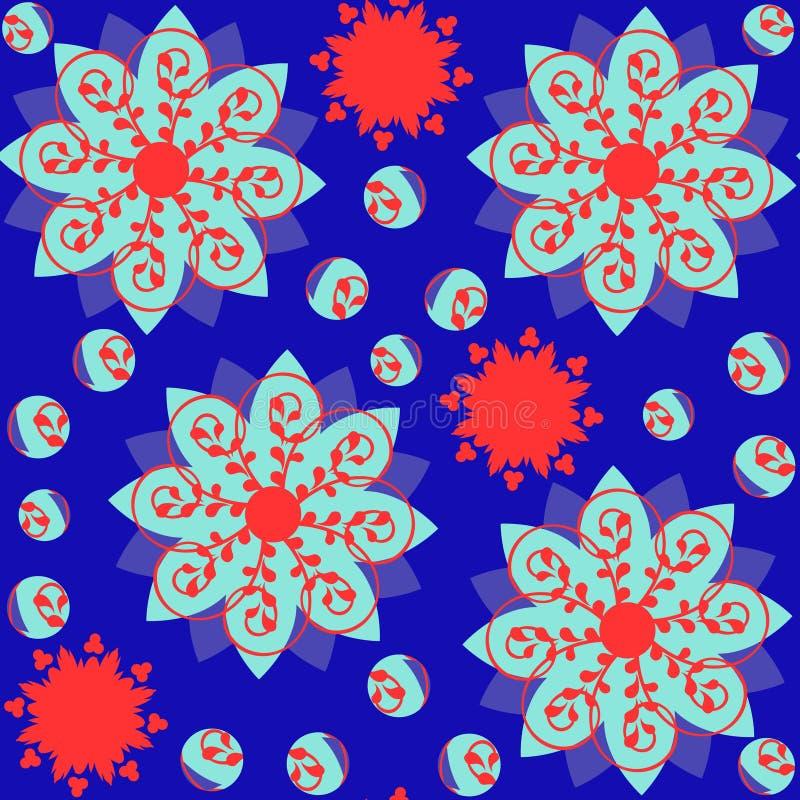 Kolorowy abstrakcjonistyczny geometryczny tło z kwiatami royalty ilustracja
