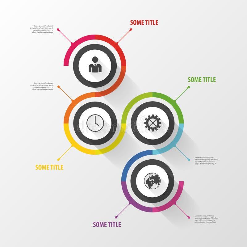 Kolorowy abstrakcjonistyczny infographic szablon cztery elementy projektu tła snowfiake białego wektor ilustracji