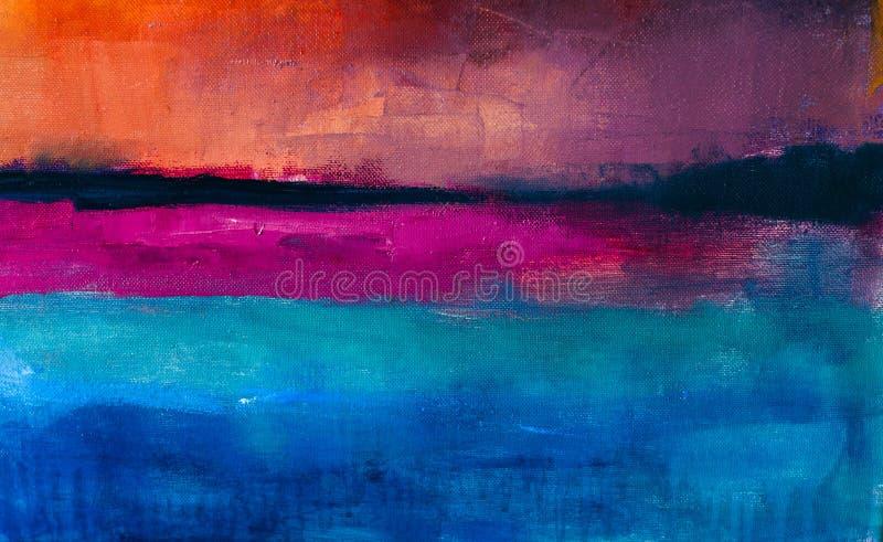 Kolorowy Abstrakcjonistyczny obrazu olejnego tło Olej na brezentowej teksturze ilustracja wektor