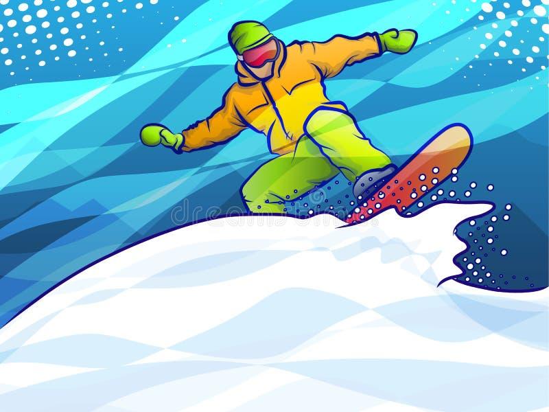 Kolorowy abstrakcjonistyczny snowboarder royalty ilustracja