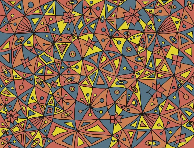 Kolorowy abstrakta wzór z cztery ryba i kwiecistymi elementami w desaturated kolorach zdjęcia stock