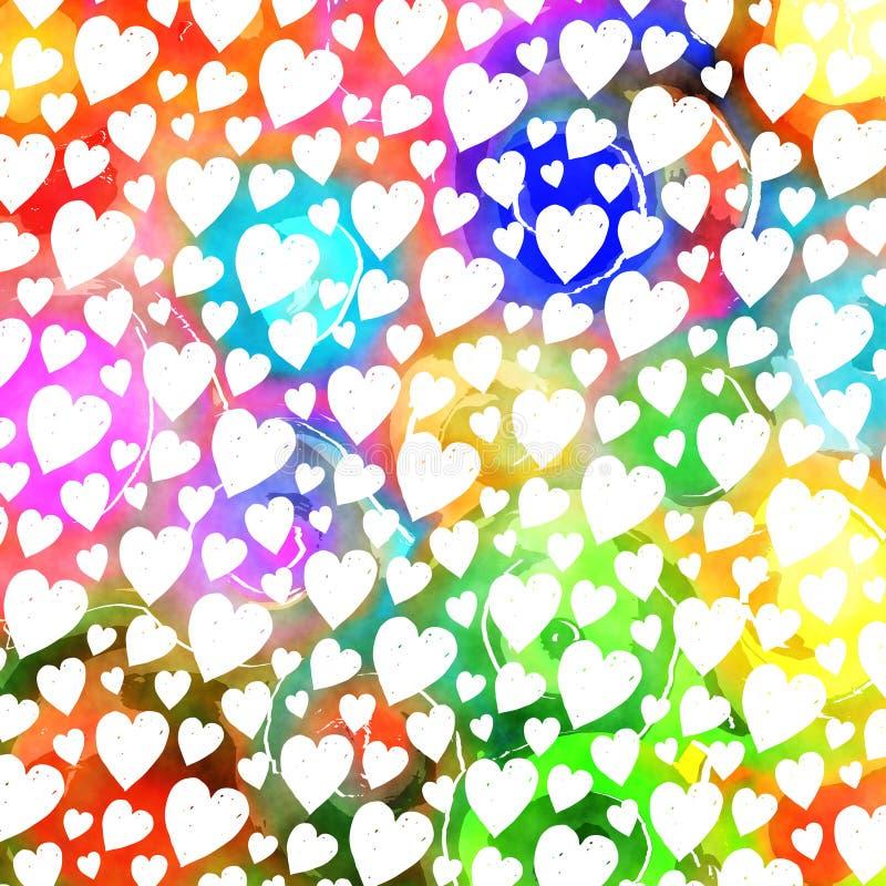 Kolorowy akwareli miłości serca wzór ilustracja wektor