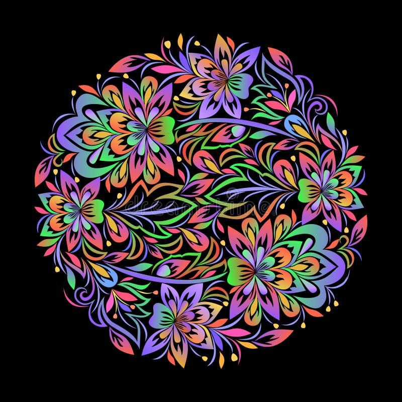 Kolorowy artystyczny round wzór z kwiatami ilustracji