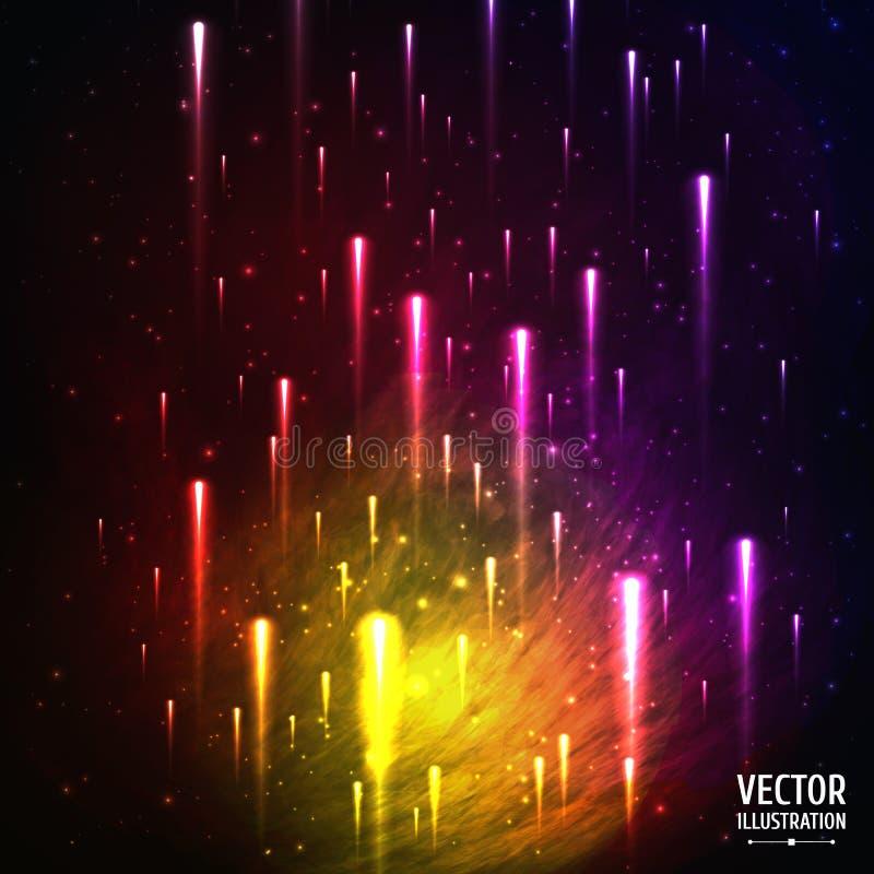 Kolorowy Astronautyczny galaktyki tło z światłem, ilustracji