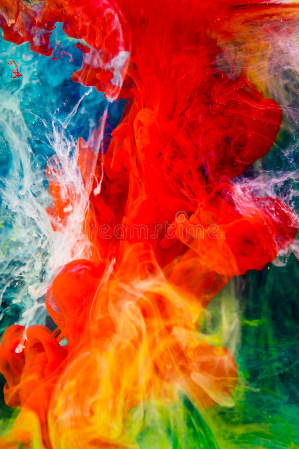 Kolorowy atrament w wodzie fotografia stock
