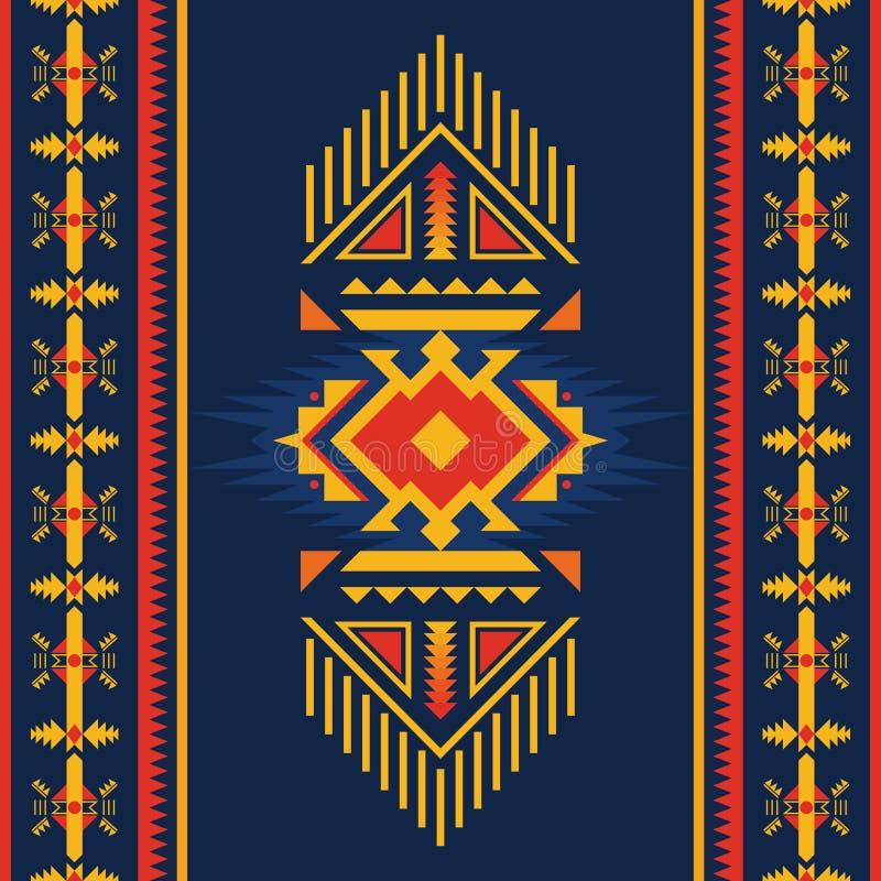 Kolorowy aztec bezszwowy wzór Etniczny geometryczny ornament royalty ilustracja