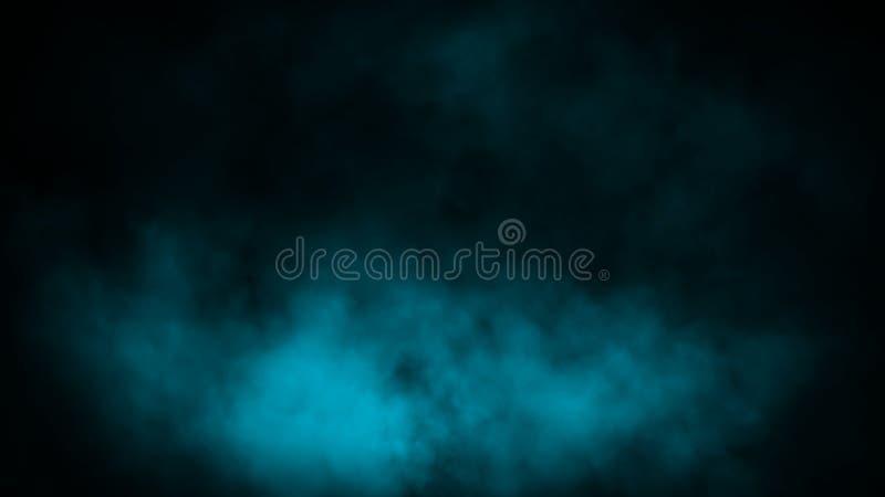 Kolorowy błękita dym na podłodze Odosobniony czarny t?o Mgliste mg?a skutka tekstury narzuty dla teksta lub przestrzeni zdjęcia royalty free