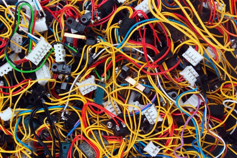 Kolorowy bałagan kabli włączniki i druty obrazy royalty free