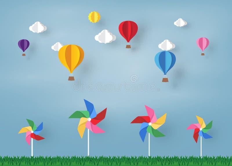 Kolorowy Ballon i chmura w pinwheel z i niebieskim niebie papierowym sztuka projektem, wektorowym projekta elementem i ilustracją royalty ilustracja