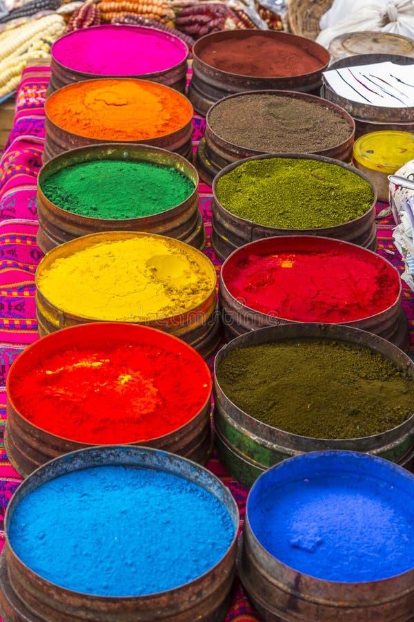 Kolorowy barwidło wybór Pisac Cuzco Peru obrazy royalty free