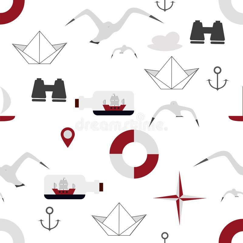 Kolorowy bezszwowy denny tło z statkami i seagulls ilustracja wektor