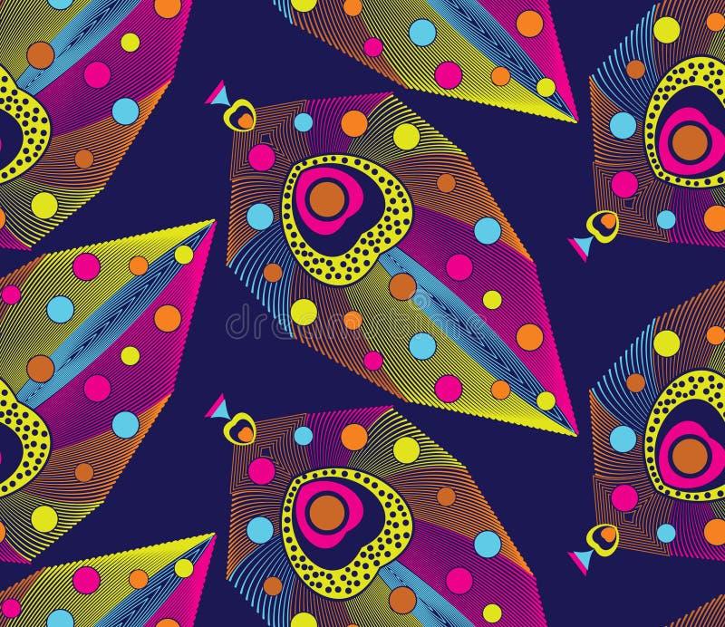 Kolorowy bezszwowy kreatywnie pawia piórko royalty ilustracja
