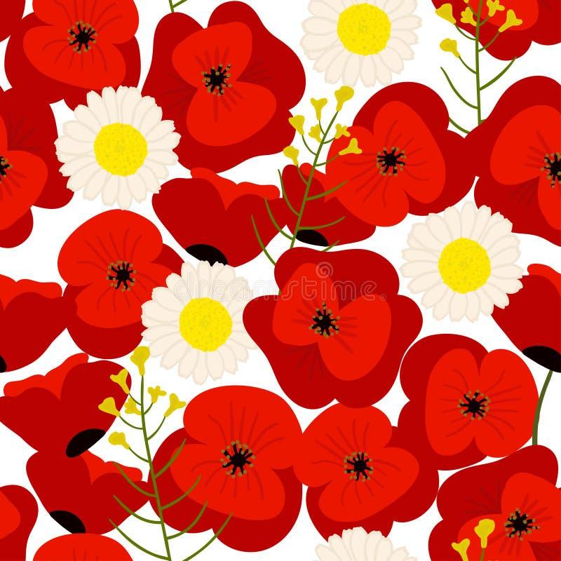 Kolorowy bezszwowy kwiecisty wzór, lata pole ilustracja wektor