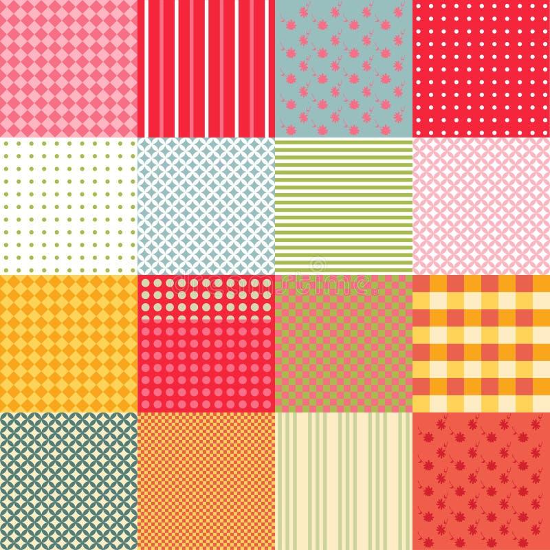 Kolorowy bezszwowy patchworku tło z różnymi wzorami ilustracja wektor