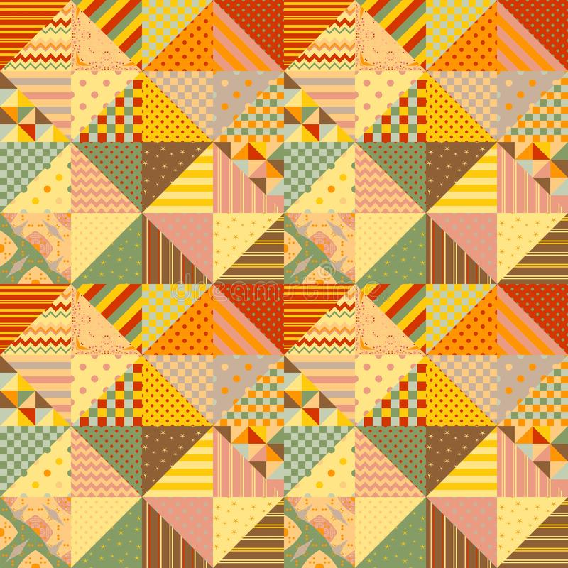 Kolorowy bezszwowy patchworku wzór Multicolor tło od różnych trójbok łat ilustracja wektor