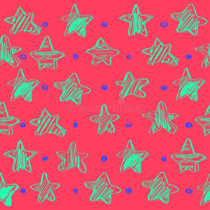 Kolorowy bezszwowy wektoru wzór z gwiazdami, nakreślenie projektuje, wektorowa ilustracja, ręka rysunek ilustracji