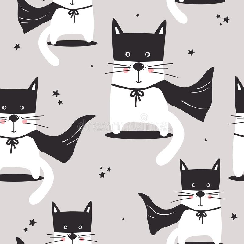 Kolorowy bezszwowy wzór z ślicznymi kotami, gwiazdy ilustracja wektor